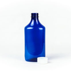12 oz Blue Graduated Oval RX Bottles with Child-Resistant Caps
