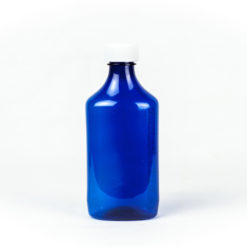 Blue Graduated Oval RX Bottles with Child-Resistant Caps 12 oz
