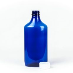 16 oz Blue Graduated Oval RX Bottles with Child-Resistant Caps