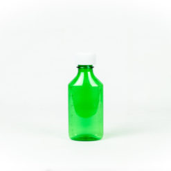 Green Graduated Oval RX Bottles with Child-Resistant Caps 4 oz