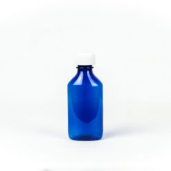 Blue Graduated Oval RX Bottles with Child-Resistant Caps 4 oz