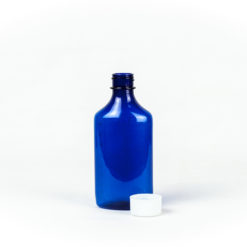 6oz Blue Graduated Oval RX Bottles with Child-Resistant Caps