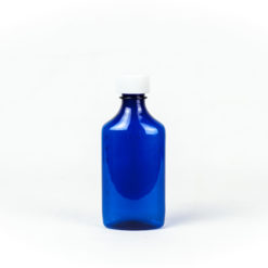 Blue Graduated Oval RX Bottles with Child-Resistant Caps 6 oz