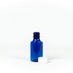 1oz Blue Graduated Oval RX Bottles with Child-Resistant Caps