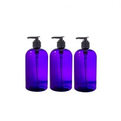 Purple Plastic Boston Round Lotion Bottle with Black Pump - 16 oz / 500 ml - Pack 3
