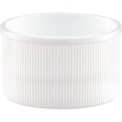 28mm 28-410 White Ribbed Matte Top Plastic Cap