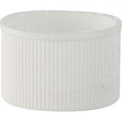 20mm 20-410 White Ribbed (Matte Top) Plastic Cap w/HIS Pulp Liner for PET/PVC