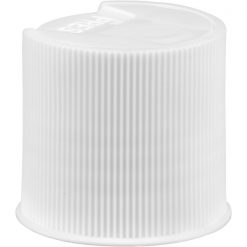 24mm 24-410 White Ribbed Disc Top Cap, Unlined, .312x.110 Orifice, Plug Seal