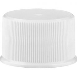 24mm 24-410 White Ribbed (Matte Top) Plastic Cap