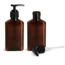 Plastic Bottles, 100 ml Amber PET Oblong Bottles w/ Black Lotion Pumps