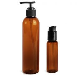 Plastic Bottles, Amber PET Cosmo Round Bottles With Black Lotion Pumps & Treatment Pumps 2 oz