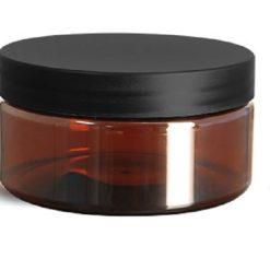 8 oz Plastic Jars, Amber PET Heavy Wall Jars w/ Frosted Black Lined Plastic Caps
